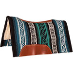 """Mustang Manufacturing Black and Turquoise Tierra Contoured Fleece Bottom Saddle Pad 36"""" X 34"""""""