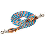 "Weaver Leather Poly Roper Rein, Blue/Coral/Mint 3/8"" X 8"