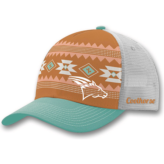 best service 02011 a5116 Coolhorse Snap Back Mesh Cap with Aztec Print and White Logo