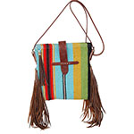 Rafter T Tack Turquoise and Multi Colored Wool Crossbody Bag With Fringe and Leather Closure