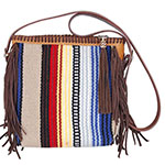 Rafter T Tack Tan and Multi Colored Wool Crossbody Bag With Whip Stitched Top and Brown Fringe