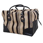 Rafter T Tack Black and Tan Wool With Black Leather Over Night Bag