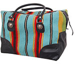 Rafter T Tack Turquoise and Multi Colored Wool With Black Leather Over Night Bag