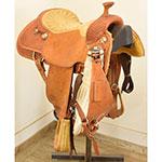 """Used 15.5"""" Larry Duggan Cowboy Saddle Shop Roping Saddle"""