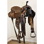"Used 14"" Pozzi Pro Barrel Racing Saddle by Double J"