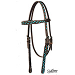 Chocolate Rough Out Browband Headstall with Turquoise Buckstitch