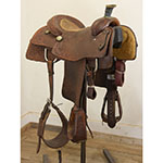 "Used 15"" NRS Pro Series Team Roping Saddle"