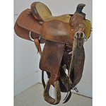 "Used 15"" Cactus Team Roping Saddle"
