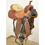 "Used 15"" Running P Saddlery Barrel Saddle"