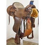 "Used 15"" Phillips Cowboy Shop Cogsdil Team Roping Saddle"