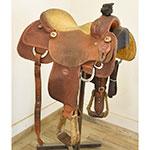 "Used 15"" Jeff Smith Custom Team Roping Saddle"