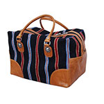 Rafter T Tack Black and Red Wool With Tan Leather Over Night Bag