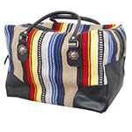 Rafter T Tack Tan and Multi Color Wool With Black Leather Over Night Bag