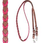 "Martin Saddlery 3/4"" Harness Barrel Rein with Latigo Pink Lace"