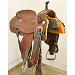 """Used 16.5"""" Roohide Saddlery Cutting Saddle"""