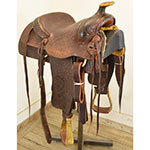 "Used 15.5"" Junior Gray Roping Saddle"